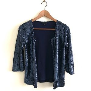 J. Crew Collection Navy Sequin Open Jacket Bolero
